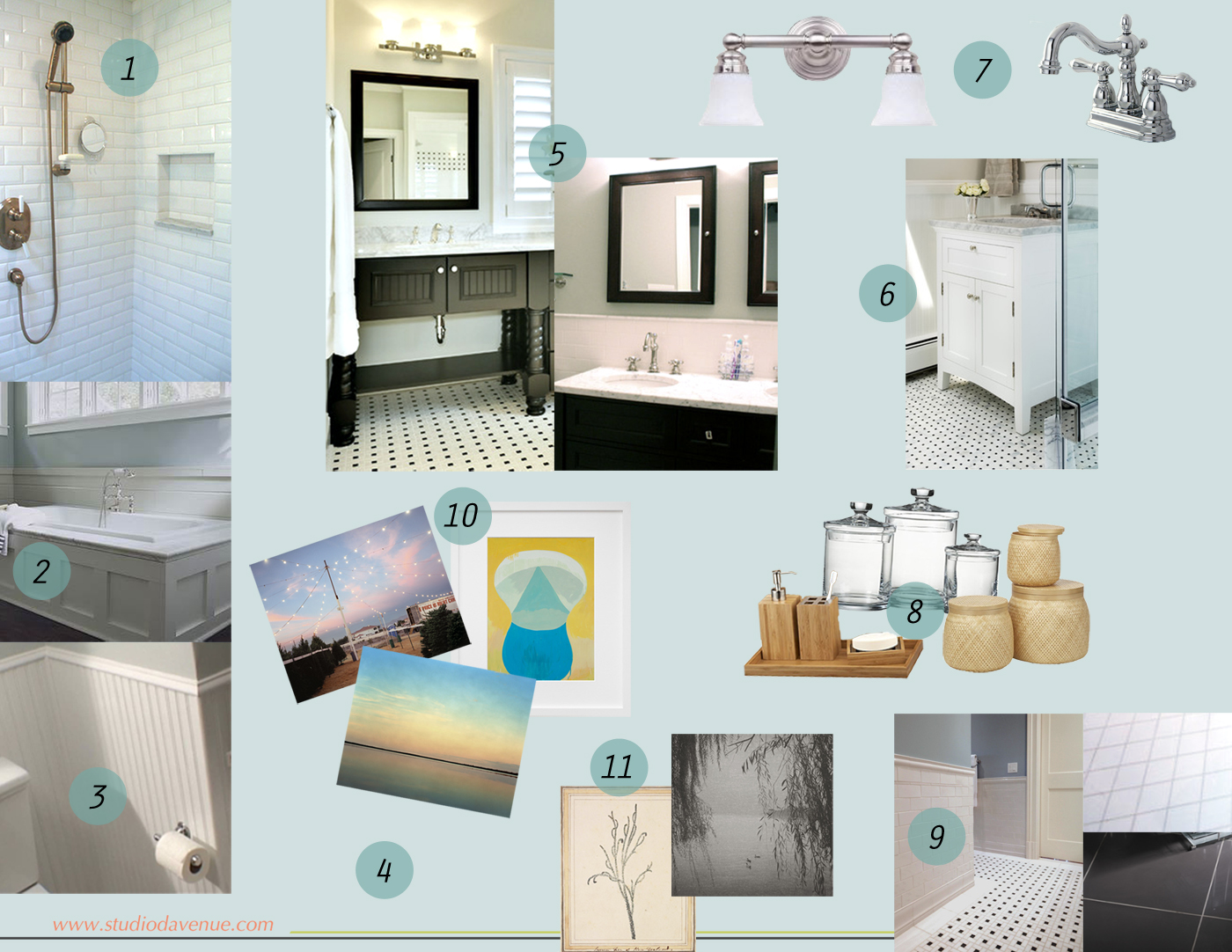 Bathroom Design Board mood board: bathroom update design - studio davenue
