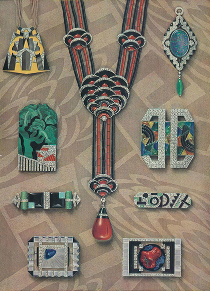 Art Deco Accessories: Jewelry Illustration