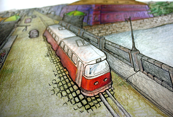 DIY Wall Art Tram Detail
