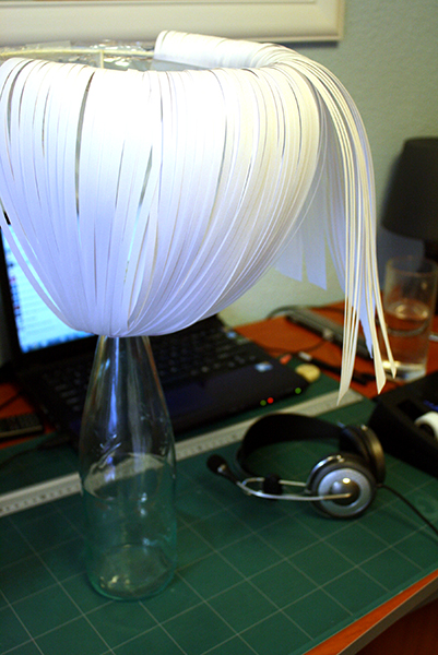 Paper Lamp Shade: Assembly in Progress