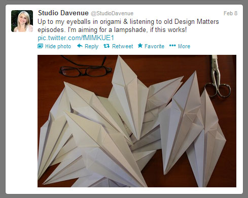 Paper Lamp Shade: Twitter Screen Capture